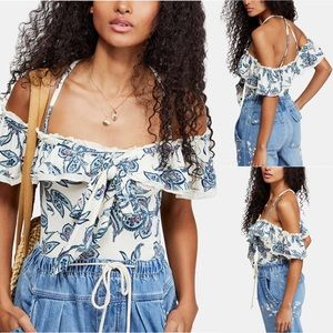 Free People Cha-Cha Off Shoulder Print Top